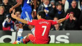 Luis Suarez appeals for a penalty during Liverpool's Premier League defeat against Chelsea.