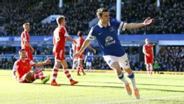 Seamus Coleman celebrates after firing home the opener against Southampton.