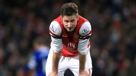 Olivier Giroud shows his dejection as he rues a missed chance