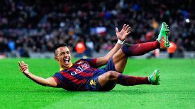 Alexis Sanchez celebrates his hat trick goal against Elche as Barcelona stormed to a 4-0 victory.
