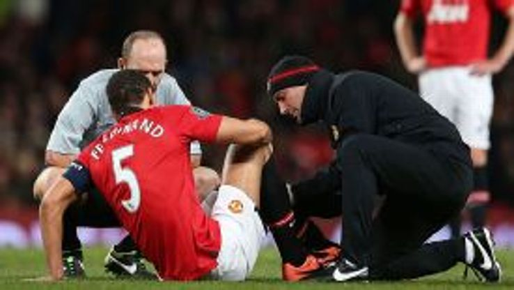 Rio Ferdinand was forced to hobble off in Man United's FA Cup defeat at home to Swansea City.