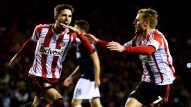 Fabio Borini celebrates with Seb Larsson after putting Sunderland back in front from the spot.