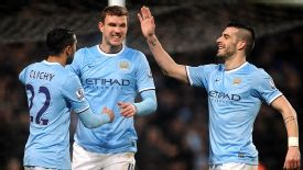 Edin Dzeko struck twice as City thumped West Ham 6-0.