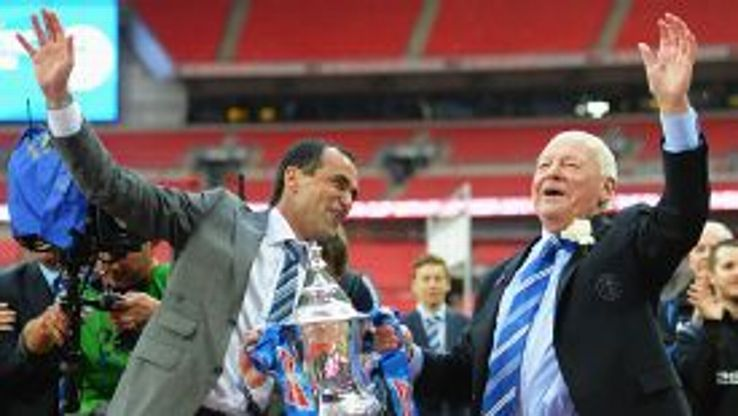 Wigan chairman Dave Whelan celebrates winning the FA Cup with his manager, Roberto Martinez.