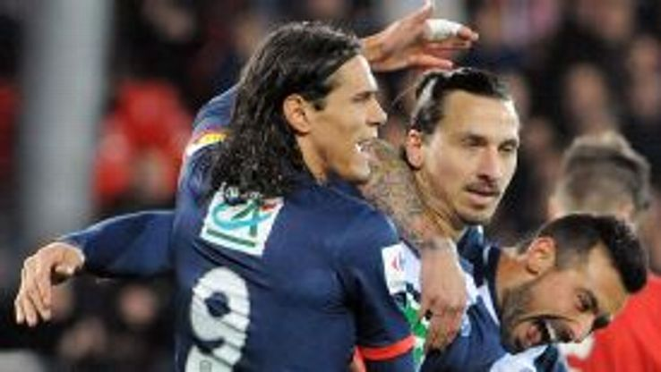 Zlatan Ibrahimovic scored a first-half hat trick for PSG against Brest.