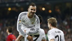 Real Madrid's Jese celebrates his goal against Osasuna in the Copa del Rey.