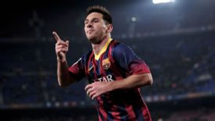 Lionel Messi celebrates after scoring on his return to the Barcelona side.