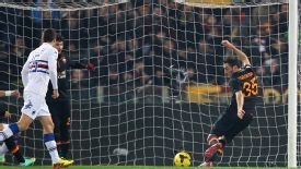 Vasilis Torosidis scores Roma's winner against Sampdoria.