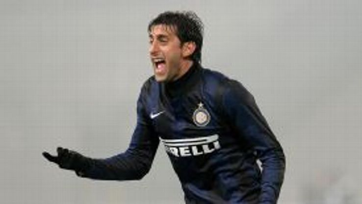 Diego Milito shows his frustration during Inter's defeat to Udinese.