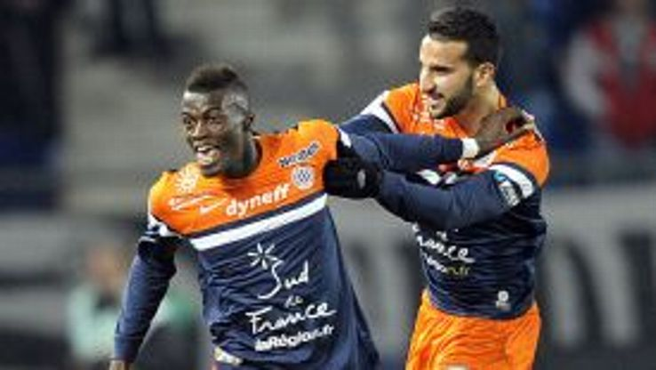 Mbaye Niang (l) celebrates with Abdelhamid El-Kaoutari.