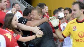 Adelaide coach Josep Gombau celebrates his side's win over Brisbane Roar.
