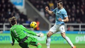 Manchester City's Alvaro Negredo scores his side's second goal past Newcastle United's Tim Krul