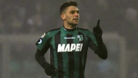 Domenico Berardi celebrates after scoring one of his four goals against AC Milan.