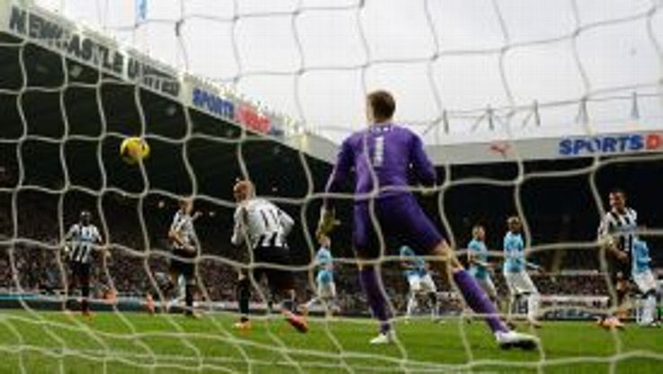 Yoan Gouffran is adjudged offside after Cheick Tiote's shot flies in.