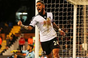 Ashkan Dejagah celebrates after doubling Fulham's lead at home to Norwich City.