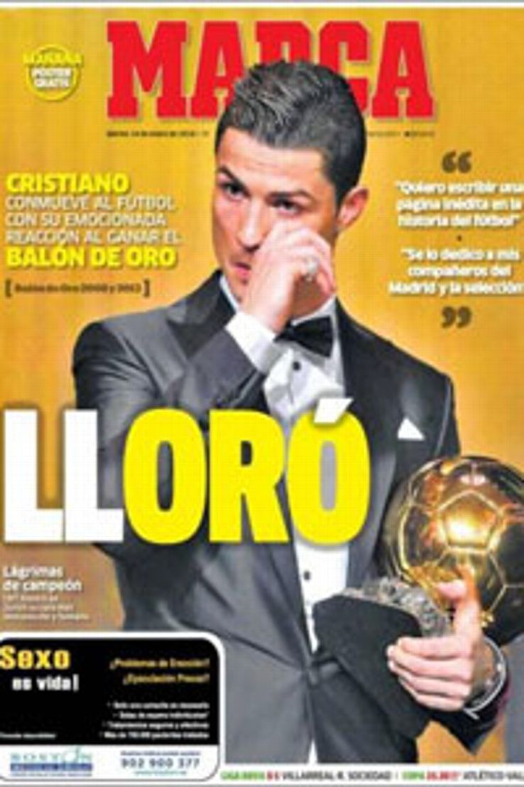 Marca's front page, headlined 'Lloro', punned on the Spanish words for 'cried' and 'golden'.