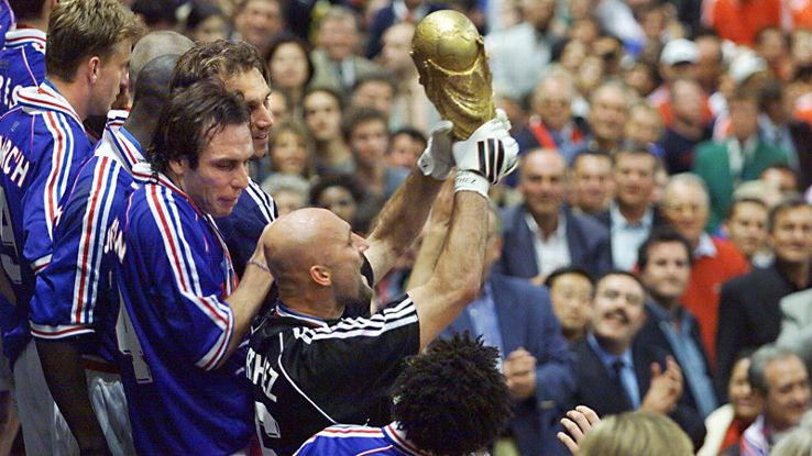 France goalkeeper Fabien Barthez lifts the World Cup in 1998.