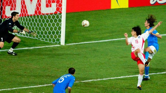 South Korea's Ahn Jung-Hwan scored the winner against Italy in their 2002 World Cup second-round game at the Daejeon World Cup stadium in Daejeon, South Korea, to advance to the quarterfinals.