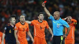 Webb showed John Heitinga a red card in extra-time at Soccer City.