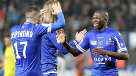 Bastia celebrate after Adama Ba scored the only goal of the game against Bordeaux.