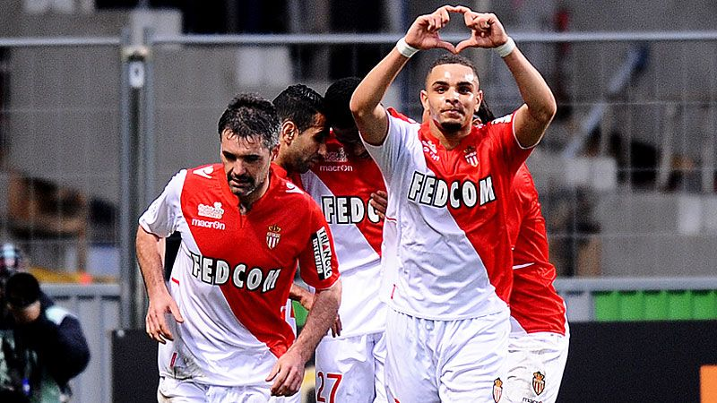 Layvin Kurzawa celebrates after scoring in Monaco's win at Toulouse.
