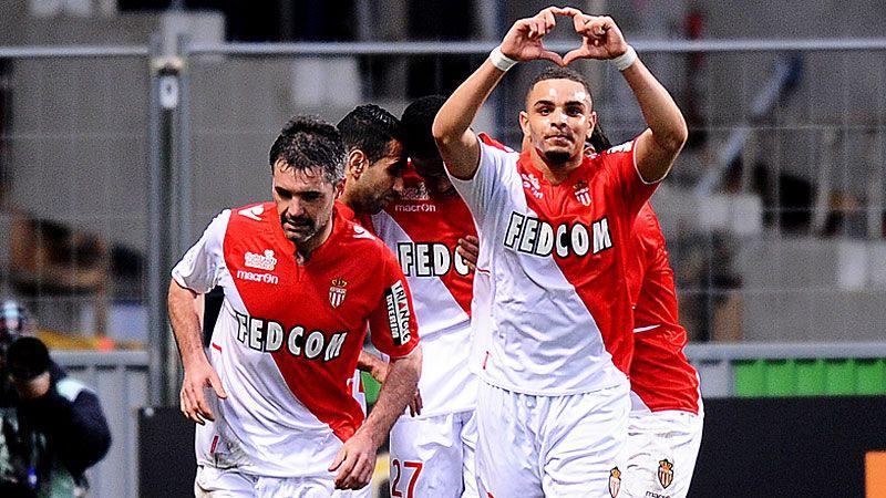 Layvin Kurzawa celebrates after scoring in Monaco's win at Toulouse.