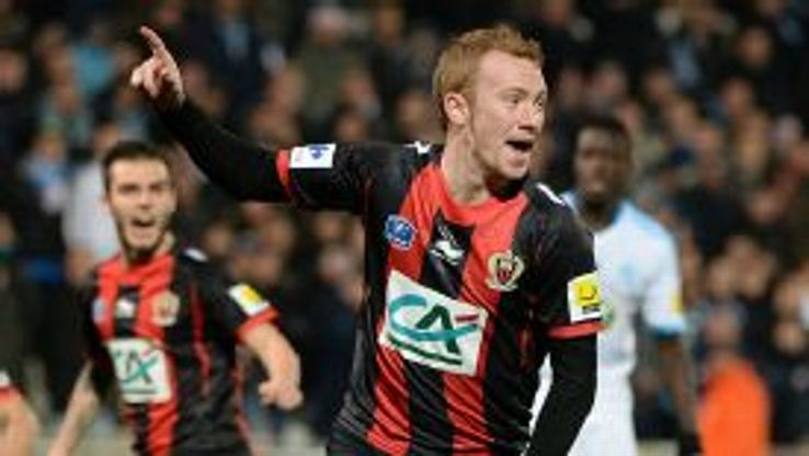Nice's Christian Bruls celebrates after scoring against Marseille.