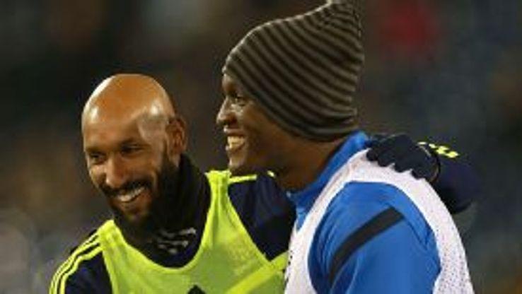 Nicolas Anelka and Romelu Lukaku prematch