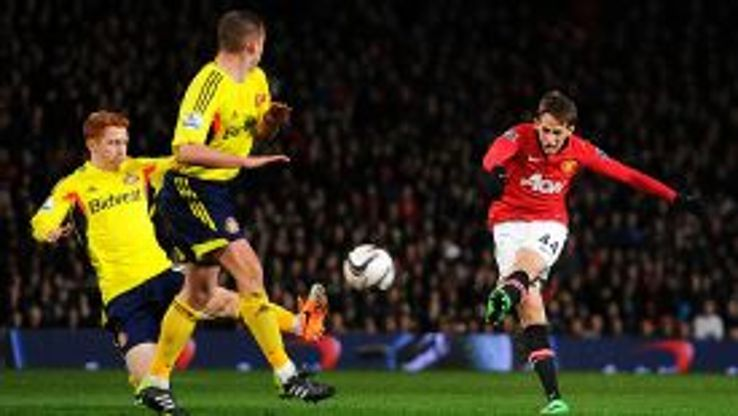 Adnan Januzaj tries his luck against Sunderland.