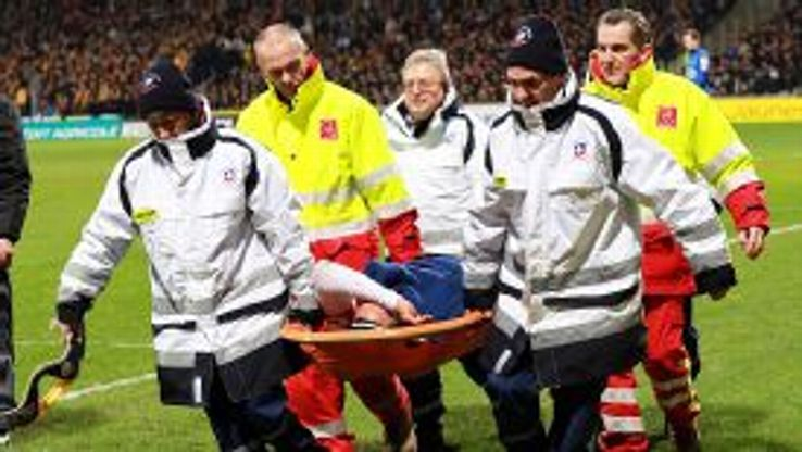 Radamel Falcao is stretchered off.
