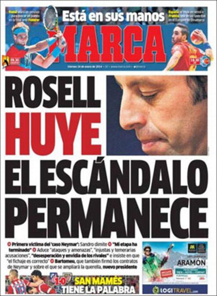 Sandro Rosell resigned on Thursday.