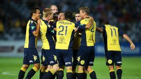 Central Coast Mariners celebrate their victory over the Newcastle Jets.