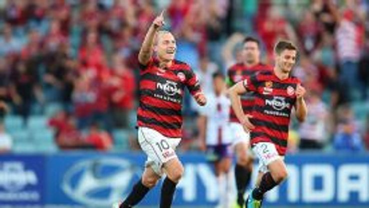 Western Sydney Wanderers' Aaron Mooy celebrates his goal against Perth Glory.