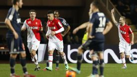 Valere Germain celebrates his goal for Monaco.