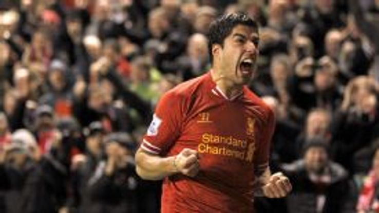 Luis Suarez scored Liverpool's fourth against Everton.