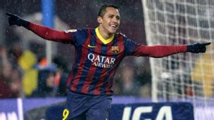 Alexis Sanchez celebrates after scoring in the Copa Del Rey rout of Levante.