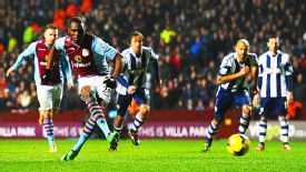 Christian Benteke puts Aston Villa 4-3 up against West Brom from the penalty spot.