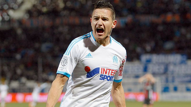 Florian Thauvin celebrates his winner against Valenciennes.