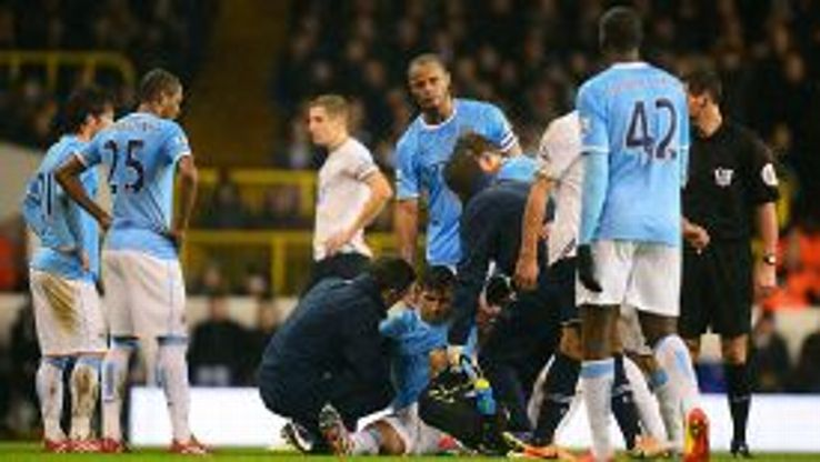 Sergio Aguero was forced off injured against Spurs after putting the visitors into the lead.