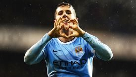 Stevan Jovetic celebrates after returning from injury to score Man City's fourth at Spurs.