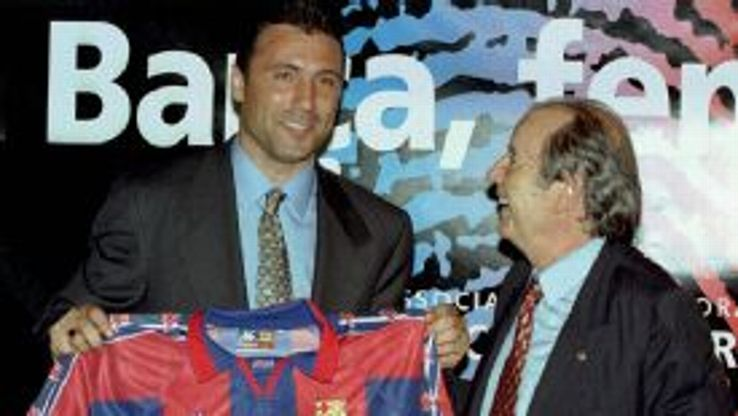 Josep Lluis Nunez, pictured in 1996 with Hristo Stoichkov, was Barca president between 1978 and 2000.