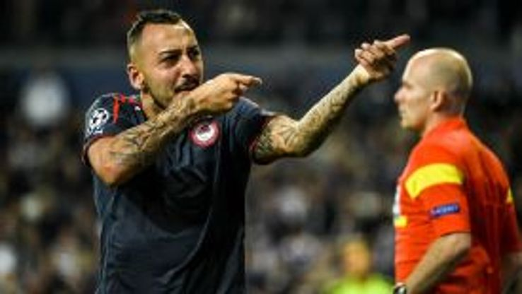 Konstantinos Mitroglou has scored four hat tricks for Olympiakos this season.
