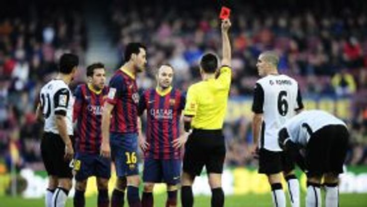 Jordi Alba is dismissed during Barcelona's defeat at home to Valencia.
