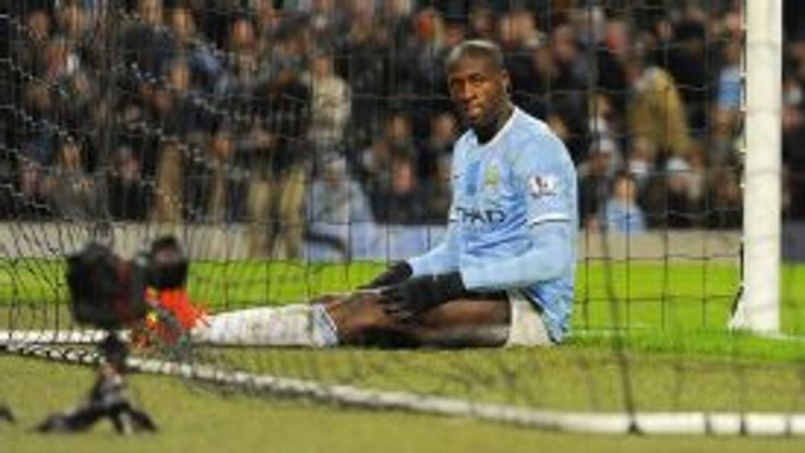 Yaya Toure gestures after a missed chance.
