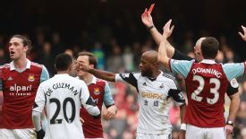 Andy Carroll was shown a red card in the victory over Swansea.