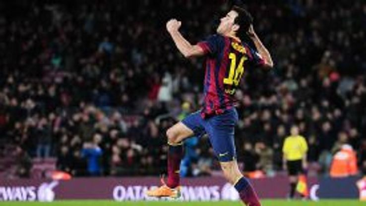 Sergio Busquets celebrates after putting Barcelona in front against Sociedad.