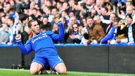 Eden Hazard celebrates his second goal against Newcastle United.