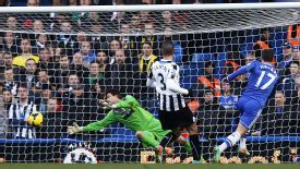 Eden Hazard beats Tim Krul to put Chelsea in front at home to Newcastle.