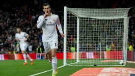 Gareth Bale celebrates after scoring early for Real Madrid against Villarreal.