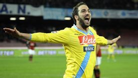 Gonzalo Higuain celebrates after scoring Napoli's third goal against Milan.